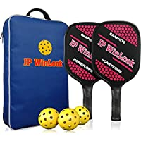 JP WinLook Pickleball Paddles Set with 2 Racquets, 3 Pickle Balls, & Portable Racket Bag