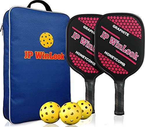 JP WinLook Pickleball Paddles Set - 2 Graphite Lightweight Racquets, Portable Racket Bag, 3 Pickle Balls, Cushion Comfort Grip, 4-¼ Inch Grip Size, Honeycomb Core