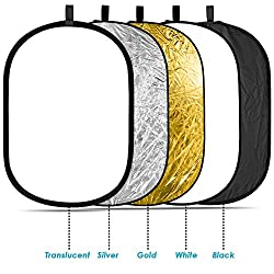 Neewer® 5-in-1-Ovale 120X180cm Faltbare Professionelle Multi-ScheibenLicht-Reflektor mit Durchlässig, Silber, Schwarz, Gold, Weiß Oberfläche