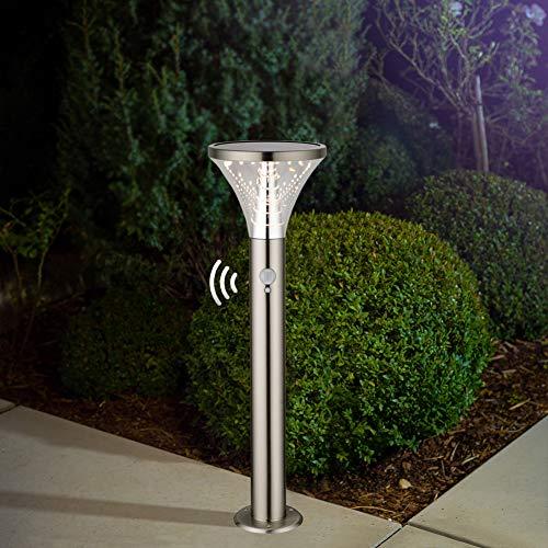 BRIMMEL Garten Solar Licht 60W Leuchten Wasserdichte Solarlampe aus Edelstahl Stilvolle Außenbeleuchtung mit Bewegungsmelder Standleuchte 3000K 600LUM IP44 50CM, SG601088