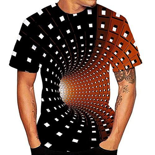 Yowablo T-Shirt Herren Premium-Passform Kurzarm Crew 3D-Druck Gradient Shirt Top Bluse (S,1Rot)