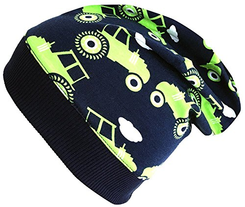 Wollhuhn Beanie-Mütze in dunkelblau mit Traktoren in grün, für Jungen und Mädchen, 20170806, Größe XXS: KU 36/40 (bis ca 6 Mon.)