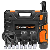 "Enertwist Cordless Electric Ratchet Wrench Set, Upgraded 3/8' 12V Power Ratchet Tool Kit with 2.0Ah Lithium-Ion Batteries, Fast Charger, 7-Pieces 3/8 Inch Metric Sockets and 1/4"" Adaptor, ET-RW-12B"