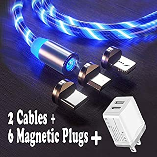 2 Pack LED Flowing Magnetic Charger Cable Light Up Candy Moving Shining Charger Phone Charging Cable Magnetic Streamer Absorption USB Snap Quick Connect (2 Cables+6 Magnetic Plugs+1 USB Wall Charger)