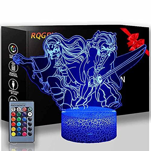 Kamado Tanjirou Demon Slayer Kids 3D Nachtlampje Optische Illusie Lamp met 16 Kleuren Afstandsbediening Veranderende…