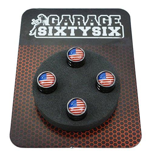 Lot de 4 bouchons de valve USA en chromé/noir Modèle : Detroit