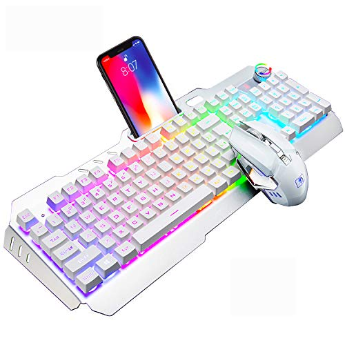 Wireless Gaming Keyboard and Mouse,16 Kinds RGB LED Backlit Rechargeable Keyboard Mouse with 4800mAh Battery Metal Panel,Mechanical Feel and Gaming Mute Mouse for PC Gamers(White RGB Backlit)