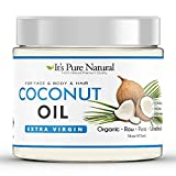 It's Pure Natural Extra Virgin Organic Unrefined Raw Coconut Oil (16 oz) for Skin, Hair, Cuticles, Scalp & Foot| Moisturizes & Nourishes Skin | Use In Massage, Oil Carrier & DIY Skin Care Recipes