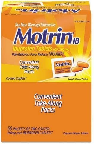 Motrin IB - Ibuprofen Tablets, Two Tablets Per Packet, 50 Packet