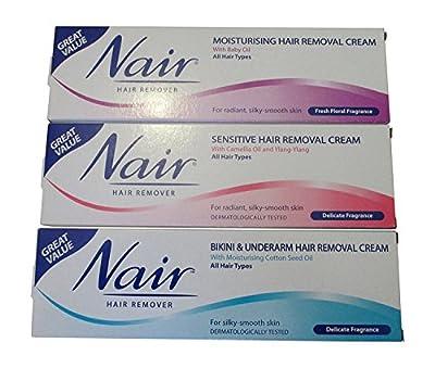 Hair Removal Cream – Nair Sensitive Hair Removal, Moisturising Hair Removal and Bikini & Underarm Hair Removal Cream for All Hair Types 100ml – Multipack of 3 from Nair