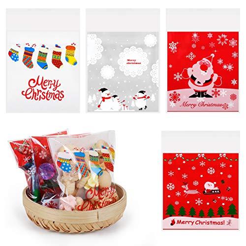 GWHOLE 200 Pz Sacchetti Biscotti di Natale Sacchetti per Caramelle di Cellophane Sacchetto Trasparente Autoadesivo per Biscotto per Torte Dolce Goody Cioccolato Forniture per Feste di Natale