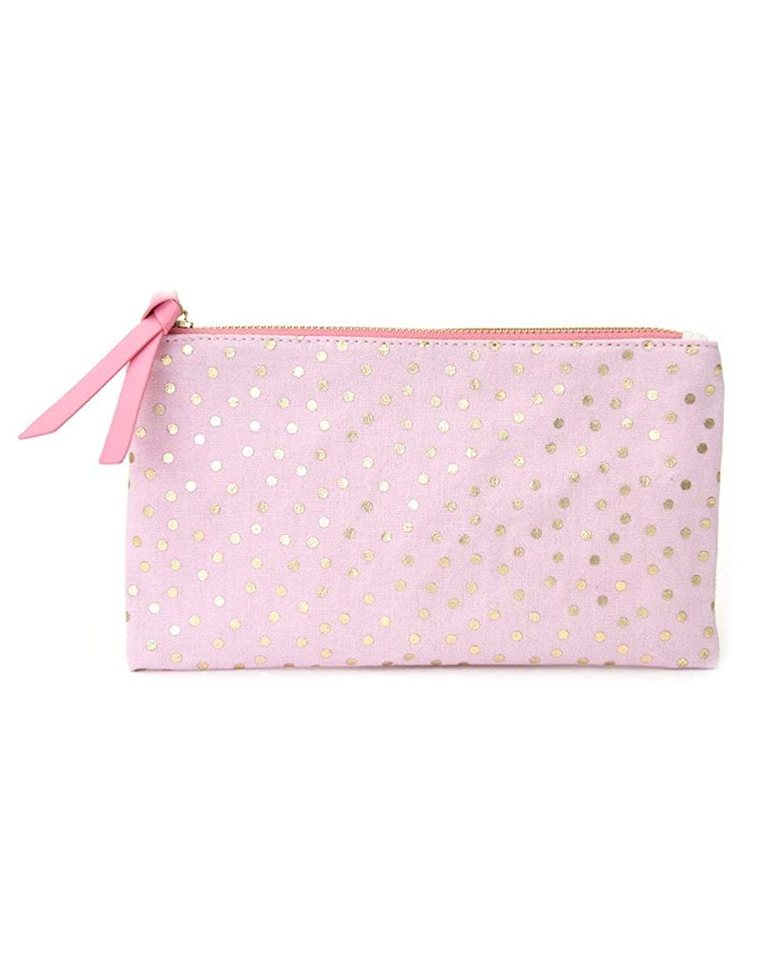 Gartner Studios Pretty Pink with Gold Foil Dots Canvas Pouch, 1 Count