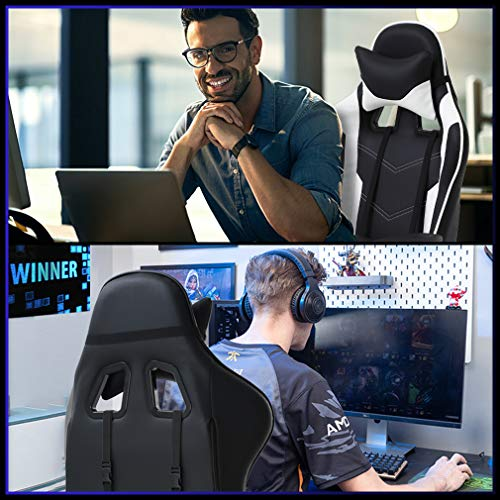 Ergonomic Office Chair PC Gaming Chair Desk Chair Executive PU Leather Computer Chair Lumbar Support with Footrest Modern Task Rolling Swivel Chair for Women, Men(White)