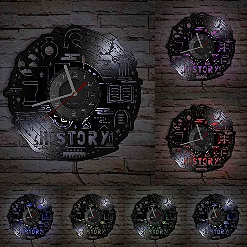 GVSPMOND Reloj de Pared con Disco de Vinilo de inspiración de Tema histórico, Registro del análisis Pasado, Reloj de Pared Retro Luminoso Futuro, Obra de Arte Artesanal