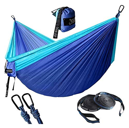 WERTYG Double Camping Hammock,Garden Hammock Swing Chair with Tree Straps Hammock Backpacking Lightweight, for Adults Kids Hiking Beach (Color : Light Blue and Navy)