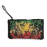 Trista Bauer Lion2 Monedero de Lona con Personalidad de Moda Linda para Hombres y Mujeres con Cremallera Bolsa de Maquillaje con Correa para la muñeca Bolsa de teléfono en Efectivo 8.5 X 4.5 Pulgadas