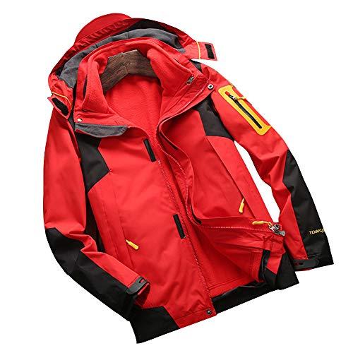 YOUCAI Mujer/Hombre 2 en 1 Chaqueta de Montaña Esquí Impermeable Interior de vellón Desmontable Caliente Cortavientos al Aire Libre Abrigo de Invierno con Capucha extraíble Hombres Rojo L