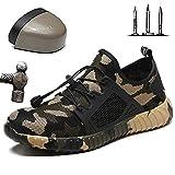 HOAPL Zapatos de Seguridad para Hombres Entrenadores con Punta de Acero Nuevo Camuflaje Transpirable Casual Zapatos de Trabajo livianos Zapatos Zapatos Deportivos Zapatos Protectores,Verde,40