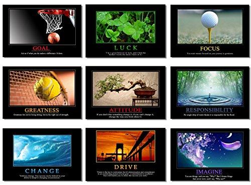 9X Poster Motivational Self Positive Office Quotes Inspirational Success Teamwork Dream Focus Responsibility Prints 20x13' (50x33cm) E397(01-09)
