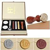 PUQU Siegelwachs-Set, Vintage-Initiale Buchstaben A-Z Alphabet Badge Siegelstempel Kit Wachsset Personalisierte Geschenkbox