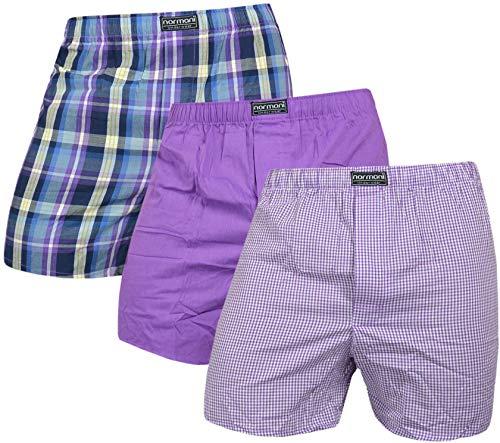 normani 3 x Herren Web Boxershorts aus Reiner Baumwolle Farbe Lila Größe M