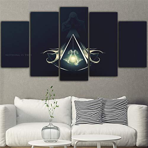 5 Stück Schwarz Wasserdichte Malerei Assassins Creed Leinwand Gedruckt Kunst Bild Spiel Poster(NO Frame size 2)