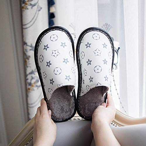ypyrhh Unisex Adulto Invierno Zapatillas de,Home Furry Slippers, Non-Slip Waterproof Cotton Slippers-White_42-43
