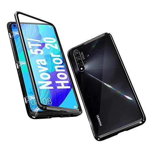 Hülle für Huawei Nova 5T / Honor 20 Magnetische Adsorption Tech Handyhülle Vorne hinten Gehärtetes Glas Unibody Design Starke Magneten Einbaurahmen 360 Grad Schutz Stoßfest Metall Flip Cover - Schwarz