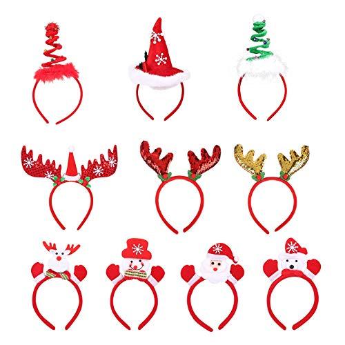 Ulikey Weihnachts Kopfschmuck, 10 Stück Haarreifen Weihnachten Stirnband, Weihnachtsstirnbänder Weihnachtsbaum Haarschmuck Weihnachten Haarreif Rentier Geweih, Schneemann für Weihnachtsfeiern (A)