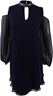 Womens Plus Sheer Embellished Party Dress