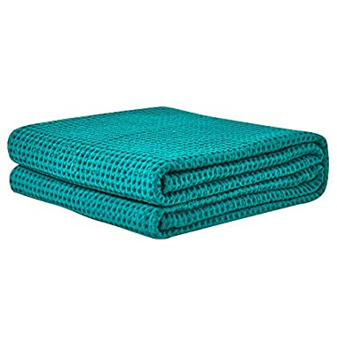 PHF Waffle Weave Blanket 100% Cotton King Size Green