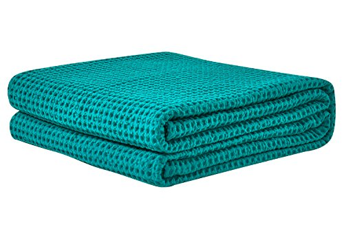 PHF Cotton Waffle Weave Blankets Twin Size Soft Cozy Lightweight for Bed Couch Sofa Green