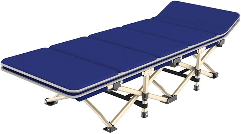 Liegestuhl Blaues Hochleistungsklappbett Für Camping Mit Kissen, Tragbares Bett Für Erwachsene Kinder Mit Tragetasche Für Camping Home Office, Unterstützung 200kg