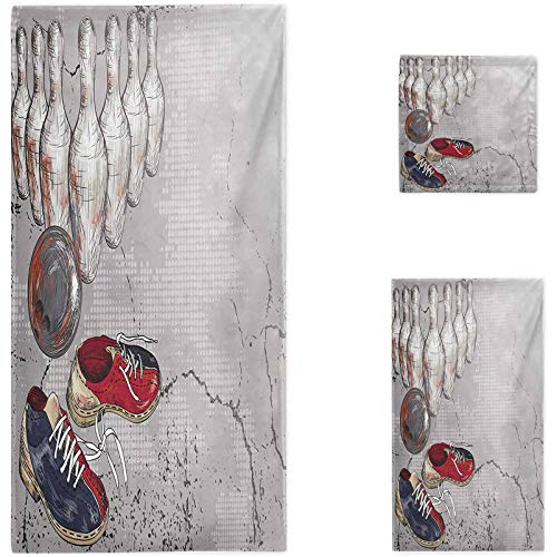 Nomorer Bowling Party Decorative Bath Towels Set, Bowling Shoes Pins and Ball in Artistic Grunge Style Print Bathroom Towels, Pale Grey Red and Dark Blue