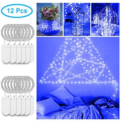 MINGER 12Stück Fee Lichter Blau Batteriebetriebene1M/3,3ft Silbrig Kupferdraht 20LEDs Sternen Leuchtkäfer Lichterketten Kostüm DIY Hochzeit Hause Party Christmas