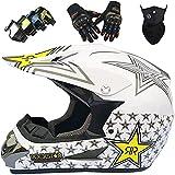Casco Motocross, MJH-01 Niños & Adultos Casco Integral de Motocicleta para MX MTB Scooter Downhill Enduro Casco de Moto Cross Set con Guantes Gafas Máscara - Rockstar - S-XL / 52-59cm