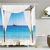 ZLWSSA Cortina de Ducha Impermeable 3D Decoración balinesa Playa a través de la Cama balinesa Ummer Unshine Clear Ky Honeymoon...