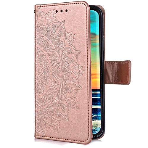 Uposao Kompatibel mit Samsung Galaxy S10 Lite Hülle Leder Schutzhülle Brieftasche Handyhülle Mandala Blumen Lederhülle Klapphülle Flip Case Bookstyle Wallet Tasche Magnet Kartenfächer,Rose Gold