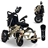 2021 Foldable Electric Wheelchair - Remote Control 500 Watt & Waterproof Motors Electric Wheelchairs Lightweight Foldable Motorize Power Electrics Wheel Chair Mobility Aid (19.5' Seat Width)