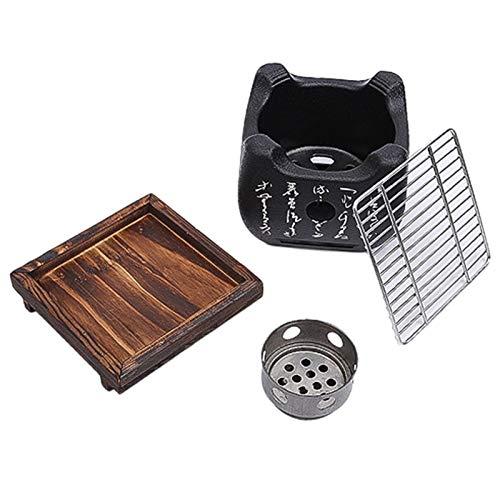 51oshagiN L. SL500  - YAOLUU Grill zubehör Mini-Tisch-Top-Holzkohlegrill-tragbarer japanischer BBQ-Grillkohleherd mit Drahtnetzgrill und Basis Grill BBQ (Size : 24cm×12.5cm)