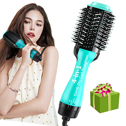 One Step Hair Dryer and Styler 4-in-1 Multifunctional Hot air Brush Straightener-curl-Comb-Dryer, One Step Hair Dryer and volumizer Brush Feature Anti-Scald Reduce Frizz & Static Styling (Cyan)