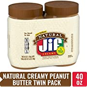 Jif Natural Creamy Peanut Butter Spread, 40-Ounce (Pack of 2)