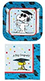 Peanuts Graduation Party Supplies for 16 People: Square Dessert Plates and Napkins 32 Piece Set
