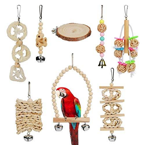 Maxjaa Parrot Spielzeug, 8pcs Parrot Spielzeug mit Glocke, Holz-schaukel, Leiter, hängematte und Jute papierstreifen Parrot chew Spielzeug für langeweile erleichtert pet Parrot Spielzeug für aras