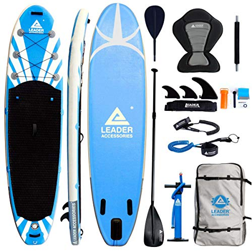 "Leader Accessories 11'2"" Blue Inflatable Stand Up Board with Fins (6"" Thick) Includes Adjustable Paddle,Kayak Leash,ISUP Backpack,Pump with Gauge"
