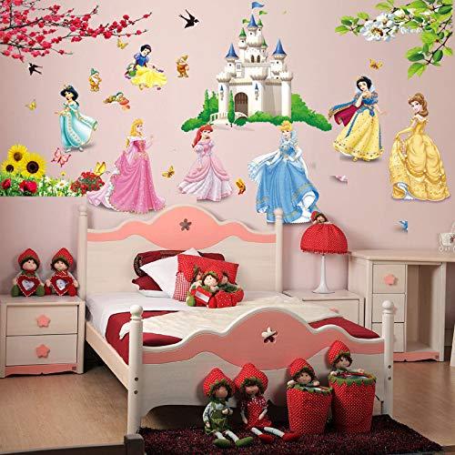 CVG extraíble DIY Siete Princesa pájaros Flor Castillo Pegatinas de Pared decoración para el hogar Habitaciones para niños niña niños Dormitorio Pegatina Papel Pintado