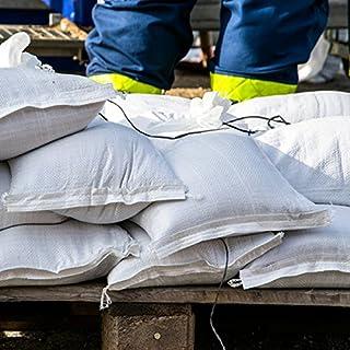 Sacos de arena contra inundaciones bolsas 40x 60cm Blanco con encuadernación banda para 15kg