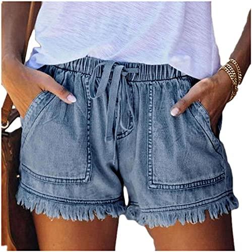 N\P Pantalones cortos de talle alto Jeans más tamaño verano de las mujeres pantalones cortos de mezclilla de gran tamaño para