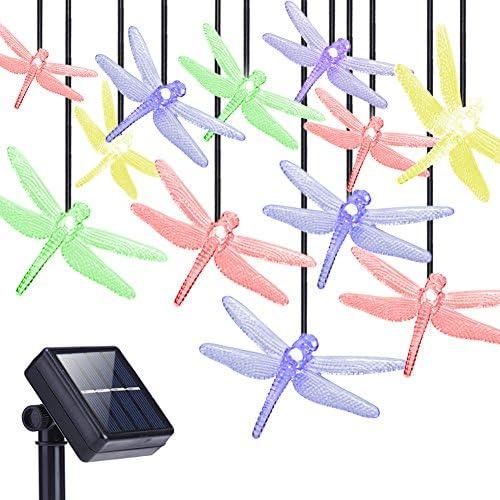 DecorNova Solar String Lights 20 LEDs Dragonfly Solar Fairy Lights with Waterproof Solar Panel product image