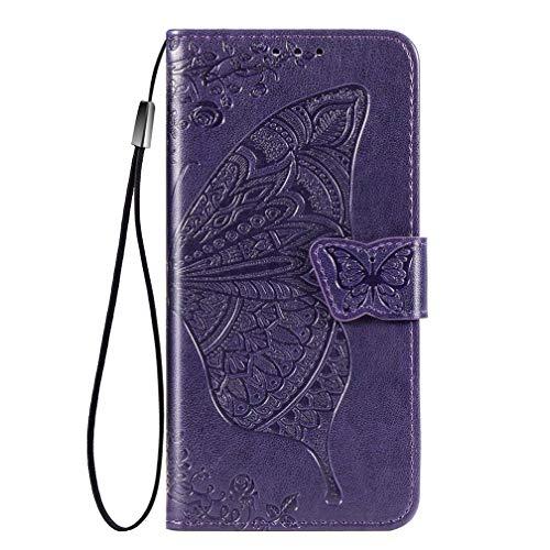 KERUN Hülle für Xiaomi Pocophone F2 Pro Flip Lederhülle, 3D Schmetterling Geprägte Prägung Handyhülle, Premium Leder Brieftasche Handytasche Schutzhülle mit Kartenfach Standfunktion.Dark Purple